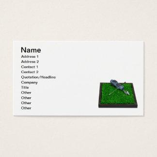 Golf Clubs Bag on Grass Business Card