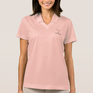GOLF Clubs with Golf Ball Pink Womens Polo T-shirts