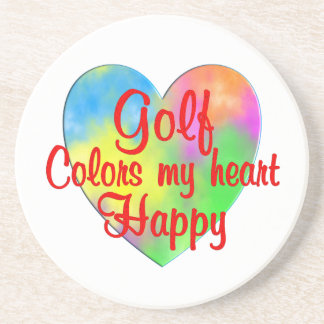 Golf Colors My Heart Happy Beverage Coasters