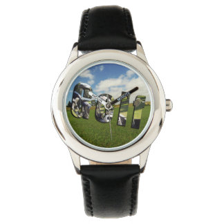 Golf Course Logo, Kids Black Leather Watch