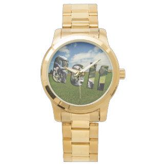 Golf Course Logo, Large Unisex Gold Watch