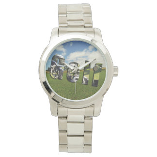 Golf Course Logo, Large Unisex Silver Watch