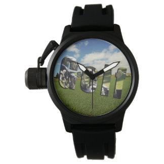 Golf Course Logo, Mens Black Rubber Watch