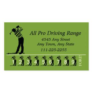 Golf Driving Range - Customer Loyalty Punch Card Business Card Templates