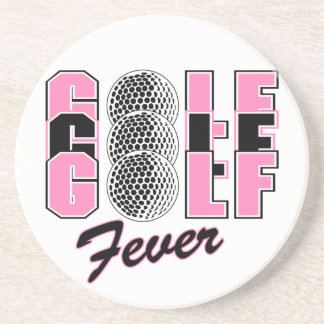 golf fever pink drink coasters