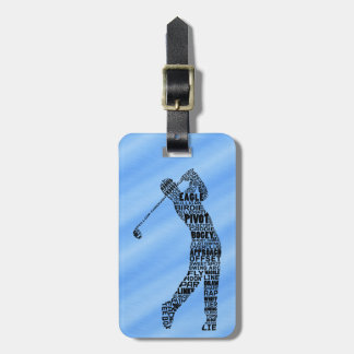 Golf Golfer Typography Luggage Tag Template