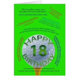 Golf Jokes birthday card for 18 year old