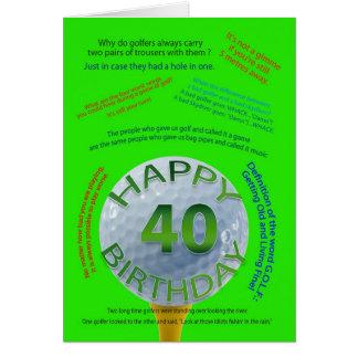 Golf Jokes birthday card for 40 year old