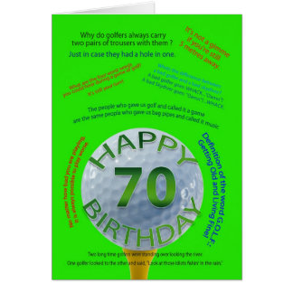 Golf Jokes birthday card for 70 year old
