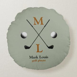 golf monogram logo round cushion