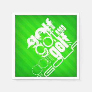 Golf; Neon Green Stripes. Disposable Napkin