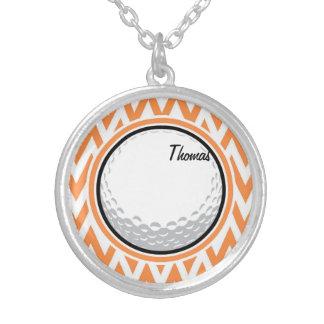 Golf Orange and White Chevron Necklace