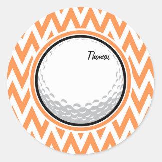 Golf Orange and White Chevron Round Sticker