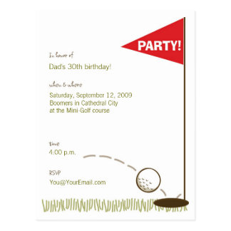 Golf Party Invitations Post Cards