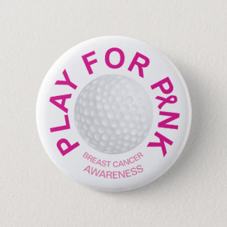 Golf Play for Breast Cancer Awareness Button