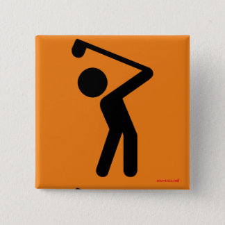 Golf Player 15 Cm Square Badge