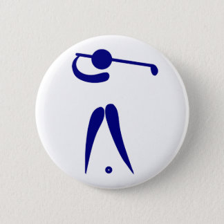 Golf Player Blue White Sports, add text and color 6 Cm Round Badge