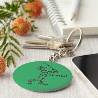 Golf Player outline design ~ editable background Basic Round Button Key Ring