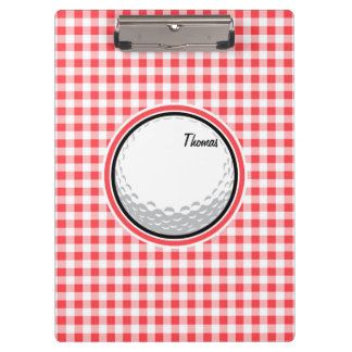 Golf; Red and White Gingham Clipboards