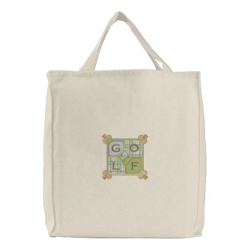 Golf Square Embroidered Tote Bags