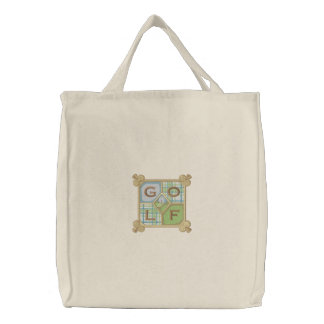 Golf Square Embroidered Tote Bag