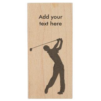 Golf Swinger Customizable Text Wood USB Flash Drive