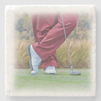 Golf Tee Time Customizable Stone Beverage Coaster