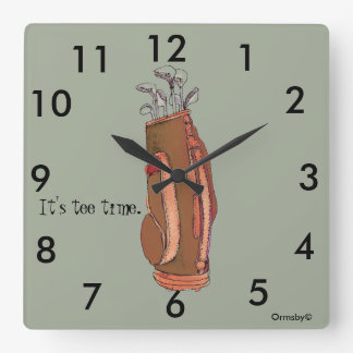 Golf tee time Square Wall Clock