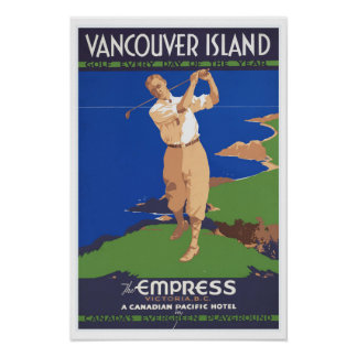 Golf Vancouver Island Canada - Vintage Travel Poster