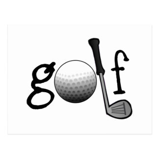 Golf with Club and Ball Postcard