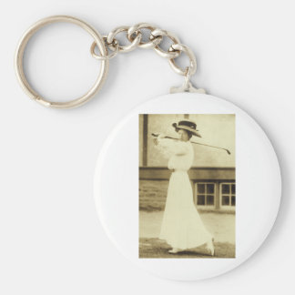 GOLF WITH STYLE! - 1908 Women's Golf Champion Basic Round Button Key Ring