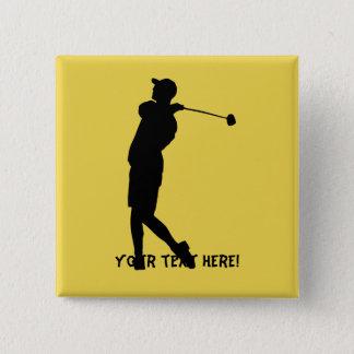 Golfer 15 Cm Square Badge
