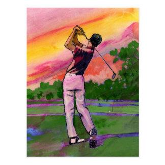 Golfer at field postcard
