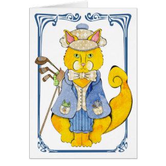 Golfer Cat Card