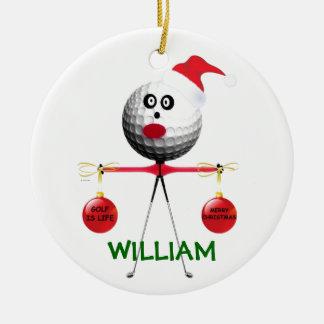 Golfer Christmas Ceramic Ornament