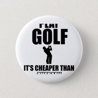 golfer designs 6 cm round badge