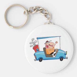 Golfer-drives-golf-cart Basic Round Button Key Ring