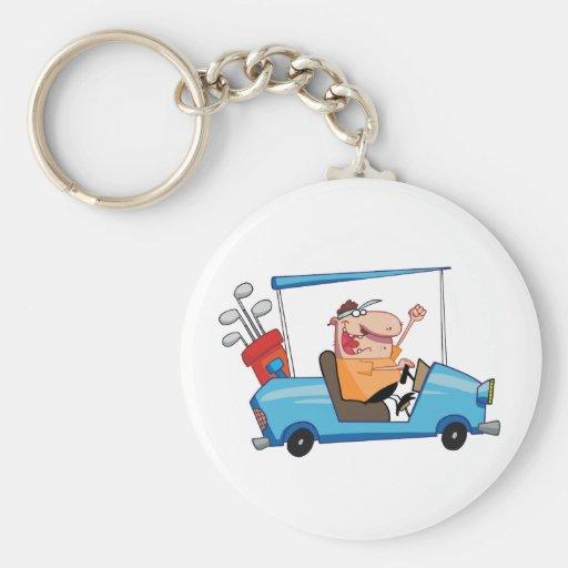 Golfer-drives-golf-cart Key Chain