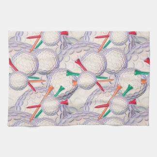 Golfer; Golf Balls & Tees Pattern Tea Towel