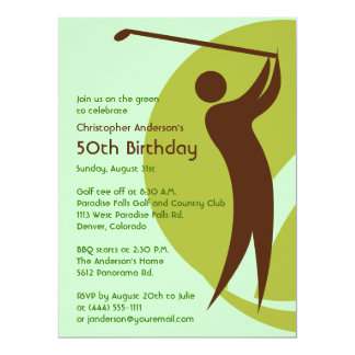 Golfer Golf Golfing Green Brown 50th Birthday 17 Cm X 22 Cm Invitation Card