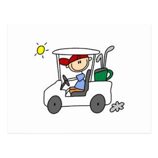 Golfer in Golf Cart Postcard