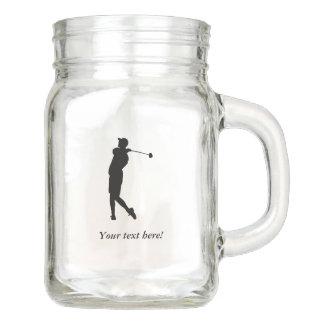 Golfer Mason Jar