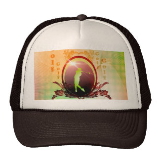 Golfer on a button with damasks decorated trucker hats