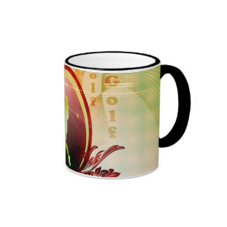 Golfer on a button with damasks decorated mugs