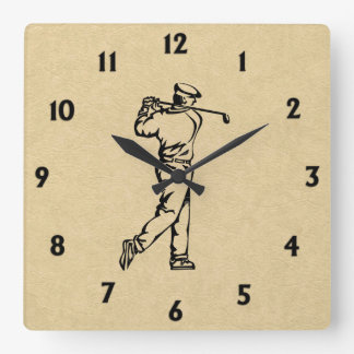 Golfer on Leather Look Black Numbers Square Wall Clock