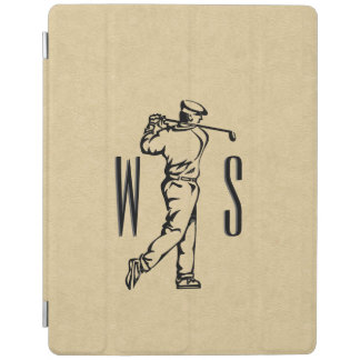 Golfer on Leather Look Monogrammed iPad Cover