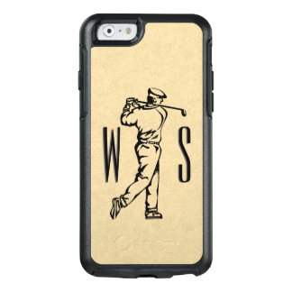 Golfer on Leather Look Monogrammed OtterBox iPhone 6/6s Case
