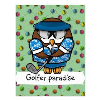 golfer owl postcard