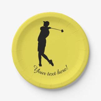 Golfer Paper Plate