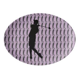 Golfer Porcelain Serving Platter